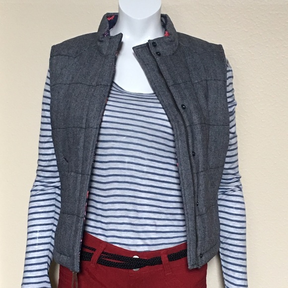 """NWT Levi's Gray Herringbone Quilted """"Puffer"""" Vest"""